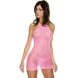 Music Legs Crochet Halterneck Mini Dress
