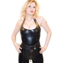 Bondage Boutique Deluxe Leather Female Chastity Belt with Butt Plug