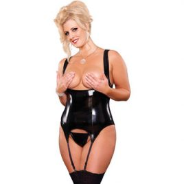 Exposed Liquid Plus Size Cupless Merry Widow and G-String Set