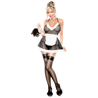 Exposed Hot Plus Size Fishnet and Lace French Maid Costume