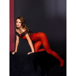 Music Legs Crotchless Leopard Print Bodystocking
