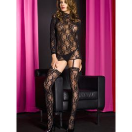 Music Legs See Through Lace Bodystocking with Garters