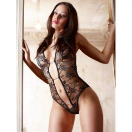 Cottelli Abierta Fina See Through Lace Crotchless Teddy