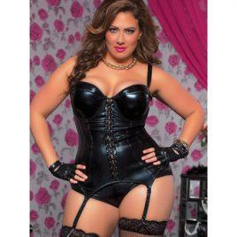 Seven Til Midnight Plus Size Indecent Desires Wet Look Bustier