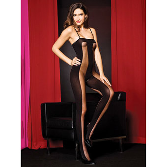 Music Legs Sheer and Opaque Crotchless Bodystocking