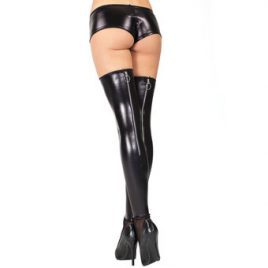Coquette Darque Wet Look Thigh Highs with Back Zip