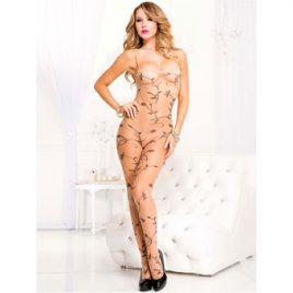 Music Legs Sheer Vine Print Crotchless Bodystocking