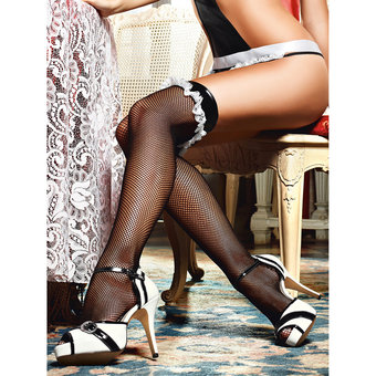 Baci Lingerie French Maid Fishnet Thigh High Stockings with Vinyl Top
