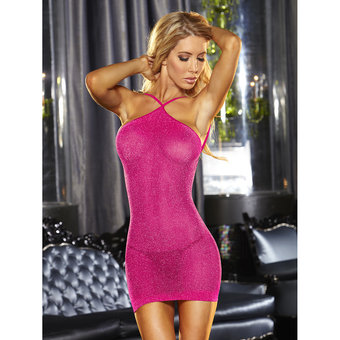 Lapdance Hot Pink VIP Glitter Mini Dress
