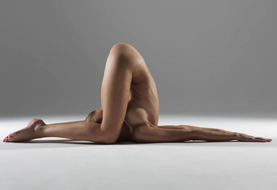 East asian naked yoga coupl shorthair