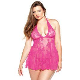 Fantasy Curve Plus Size Pink Stretch Lace Chemise Set