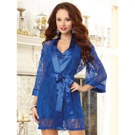 Dreamgirl Sapphire Satin and Lace Chemise and Robe Set