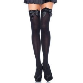 Leg Avenue Plus Size Opaque Thigh High Stockings with Satin Bow