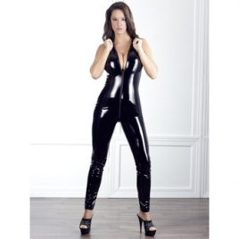 Black Level PVC Catsuit with Full Length Zip