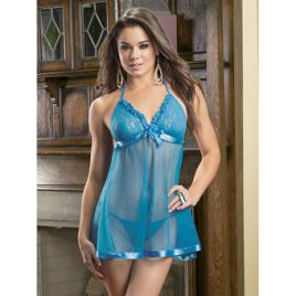 Escante Electric Blue Lace Babydoll Set