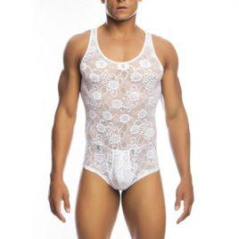 Malebasics Men's White Lace Bodysuit with Zip Back