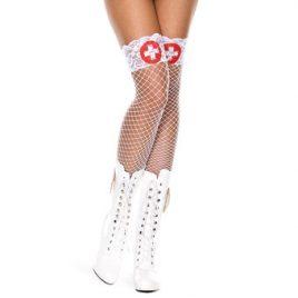 Music Legs Lace Top Fishnet Thigh High Nurse Stockings