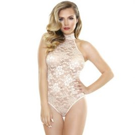 Fantasy Romp Sheer Champagne Lace Playsuit