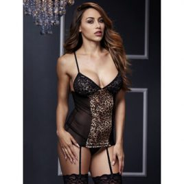 Baci Lingerie Leopard & Lace Chemise with Garters