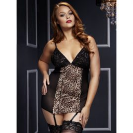 Baci Lingerie Plus Size Sheer Leopard Print Chemise with Garters