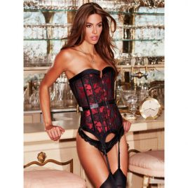 Baci Lingerie Red Satin and Lace Boned Corset