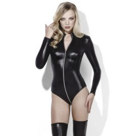 Fever Lingerie Wet Look Teddy with Full Zip