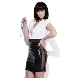 Fever Lingerie Wet Look Secretary Dress with Zip