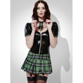 Fever Lingerie Wet Look and Tartan Schoolgirl Zip Front Dress