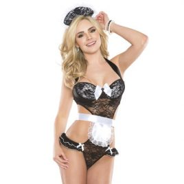 Coquette Kissable Lace French Maid Teddy Set