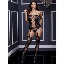 Baci Lingerie Corset-Style Crotchless Garter Bodystocking