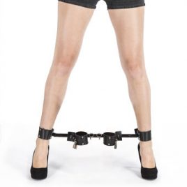 Bondage Boutique Extreme Expandable Spreader Bar with Leather Cuffs