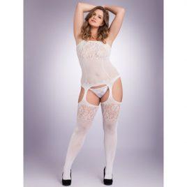 Lovehoney Plus Size White Fishnet and Lace Bodystocking