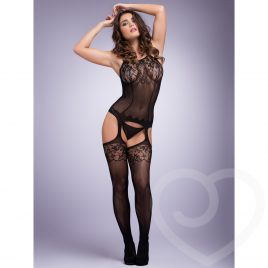 Lovehoney Black Fishnet and Lace Bodystocking