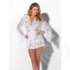 Kiss Me White Sheer Lace Kimono and Thong Set