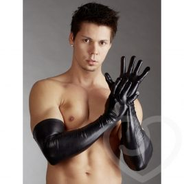Svenjoyment Wet Look Long Gloves for Men