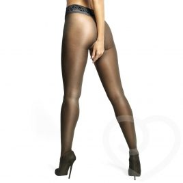 MissO 20 Denier Black Crotchless Tights with Lace Top