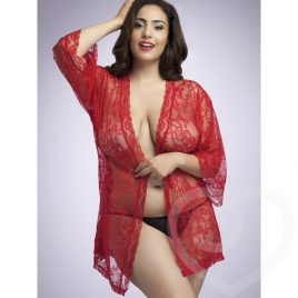 Lovehoney Plus Size Flaunt Me Red Lace Robe