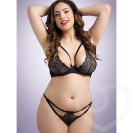 Lovehoney Plus Size Underwired Lace Triangle Bra & Crotchless G-String Set
