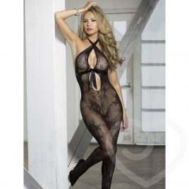 Shirley of Hollywood Crotchless Bow Front Lace Bodystocking