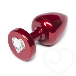Diogol Aluminum Petite Butt Plug with Swarovski Heart Crystal