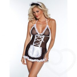 Coquette Kissable French Maid Mesh Babydoll Set