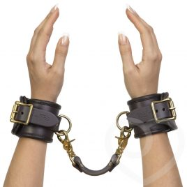 Coco de Mer Brown Leather Wrist Cuffs S/M