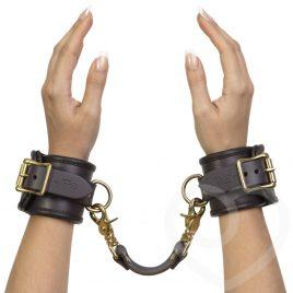 Coco de Mer Brown Leather Wrist Cuffs S/M