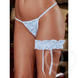 Exposed Lace Leg Garter in Light Blue