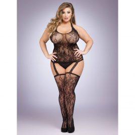 Lovehoney Plus Size Black Floral Lace Halterneck Suspender Bodystocking