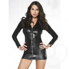 Music Legs Zip Front Wet Look Mini Dress