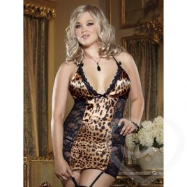 Dreamgirl Plus Size Leopard & Lace Garter Chemise Set