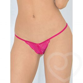 Escante Crotchless Lace Strappy Pink G-String