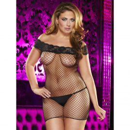 Lapdance Plus Size Fishnet and Lace Mini Dress