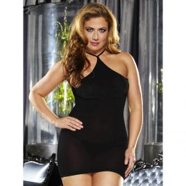 Lapdance Plus Size Halterneck Mini Dress
